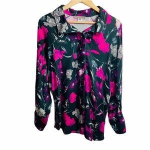 Sharon Young Floral Print Half Button Down Blouse